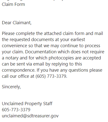 unclaimed funds email directions
