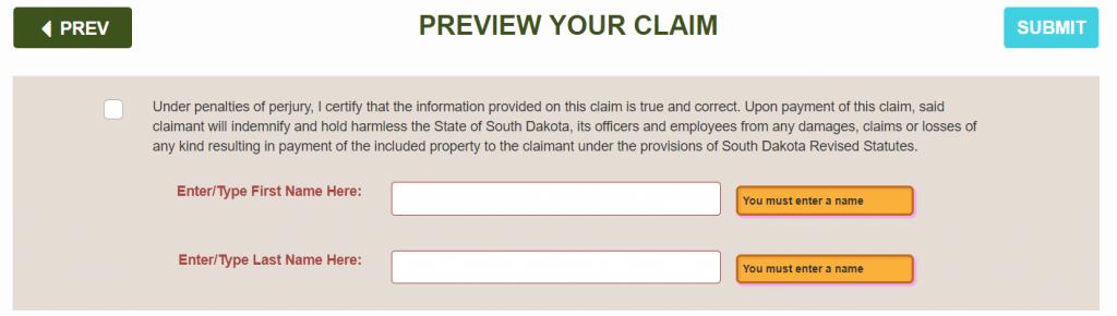 unclaimed property form